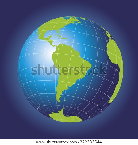 South America map. Antarctica, North America, Africa. Earth globe. Elements of this image furnished by NASA. Planet earth as seen from space - stock vector