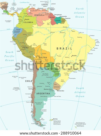 South America map - highly detailed vector illustration - stock vector