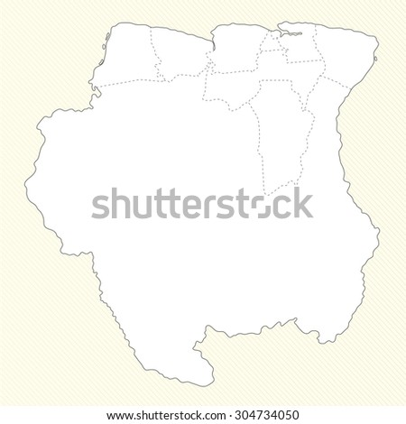 South America Map Suriname Administrative Division Stock Vector