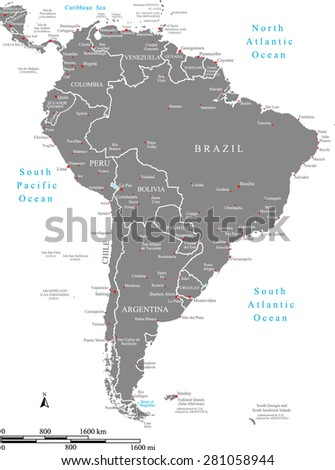 South America map vector with borders/ polygons and names of countries, names & locations of capitals & main cities, and mileage & kilometer scales, South America map outlines in grey background - stock vector