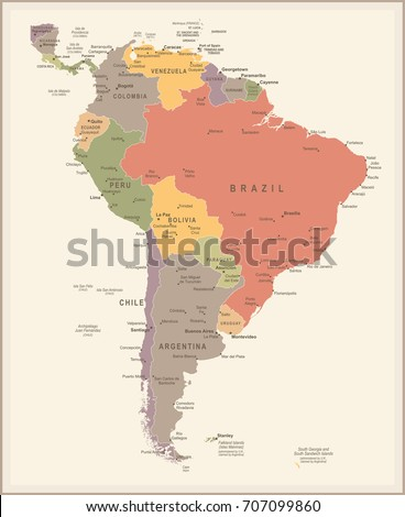 South america map vintage detailed vector stock vector 707099848 south america map vintage detailed vector illustration sciox Choice Image