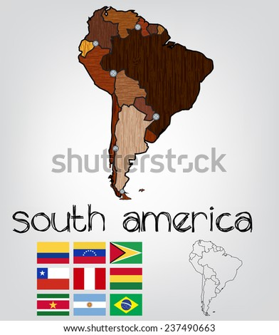 South america map with a wood texture