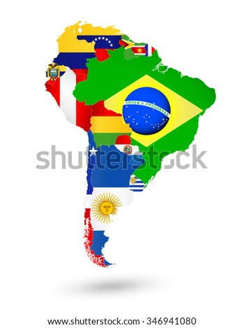 South America Map with flags and location on world map - stock vector