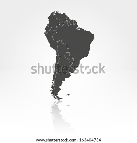 South America map with the shadow background vector - stock vector