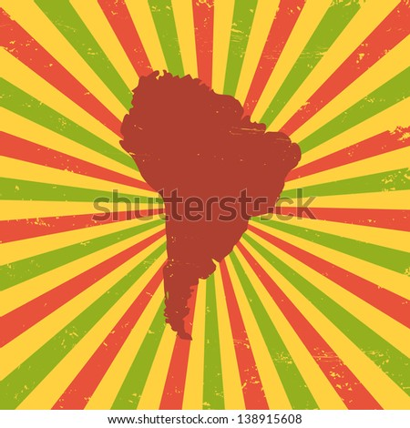 South America on the map - stock vector