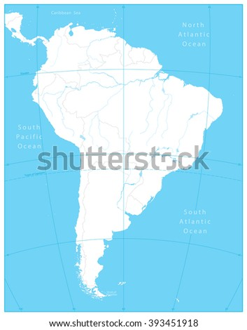 South America Outline Map.All elements are separated in editable layers clearly labeled. - stock vector