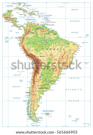 South America Physical Map Isolated On Stock Vector - South america physical map
