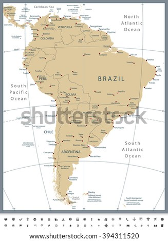 South America Political Map and Glyph Icons. All elements are separated in editable layers clearly labeled. - stock vector