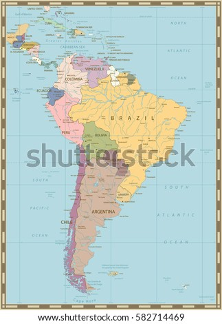 South America Political Map Lakes Rivers Stock Vector (Royalty Free ...