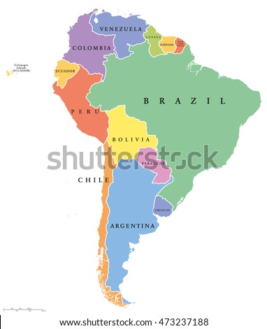 South America Single States Political Map All Countries In Different Colors With National Borders