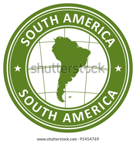 south america stamp - stock vector