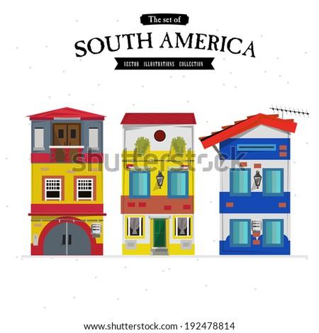 South America townhouse. home set - vector illustration  - stock vector