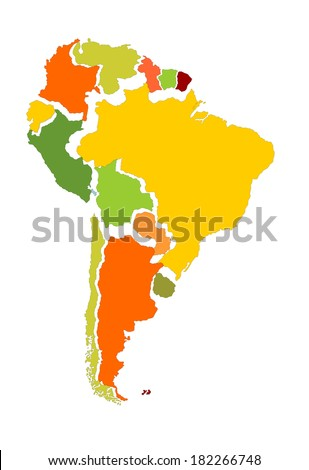 South America vector map with separated countries isolated on white background.  - stock vector