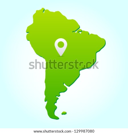 South america, vector silhouette of a continent - stock vector