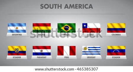 South American countries waving vector flags. States from Latin America competing to qualify for the World Cup in Russia 2018. Brazil 2010. Copa Libertadores, Copa Sudamericana, Copa America.
