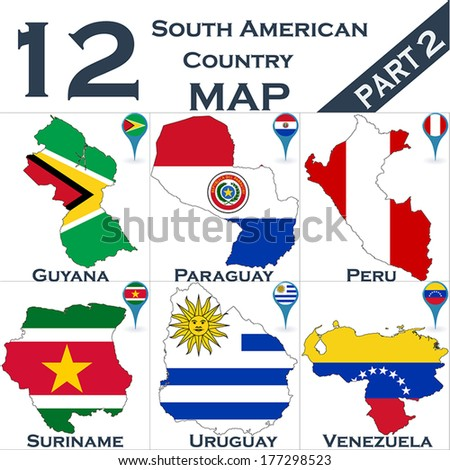 South American country set with map pointers - Part 2