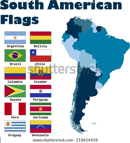 South American flag set in alphabetical order, with an editable map. - stock vector
