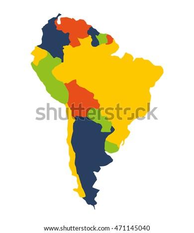 Cartoon map south america stock vector 371521006 shutterstock south american map isolated icon vector illustration design sciox Choice Image