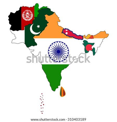 South Asia Flag Map Stock Vector (Royalty Free) 310403189 - Shutterstock