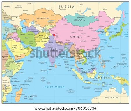 Political Map Asia Names Stock Vector Shutterstock - Asia political map