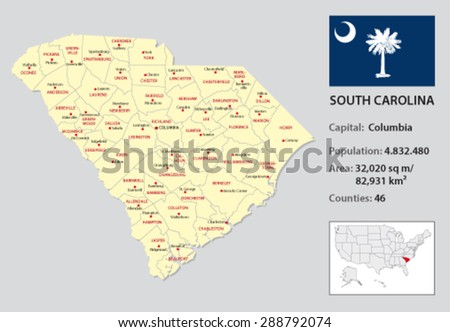 south carolina administrative map with flag and country data - stock vector
