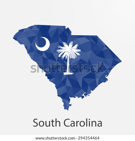 South Carolina flag map in geometric,mosaic polygonal style.Abstract tessellation,background. Low poly vector illustration EPS10 - stock vector