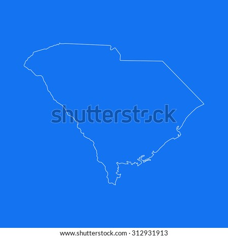 South Carolina outline map, stroke. Line style. White and blue. Vector EPS8