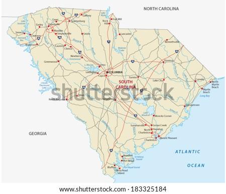 south carolina road map - stock vector