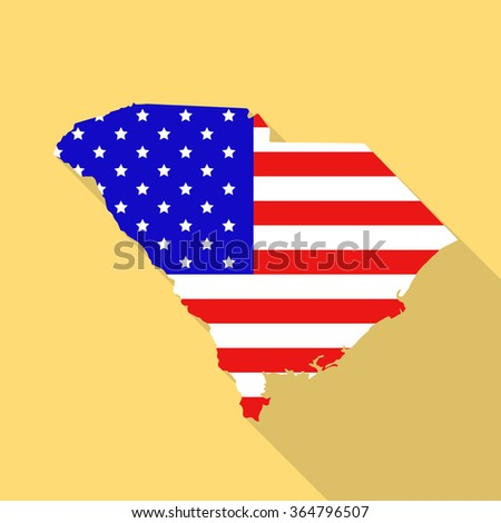 South Carolina state map in style of USA national flag. Flat style with long shadow