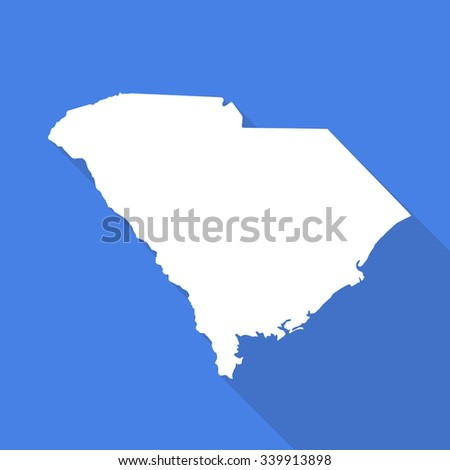 South Carolina white map,border flat simple style with long shadow on blue background - stock vector