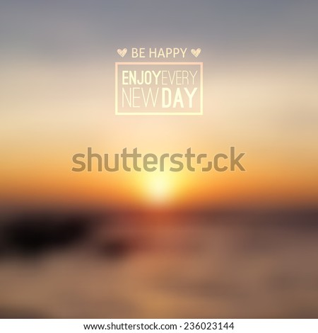 South China Sea, seascape with sunrise, vector blurred background - stock vector