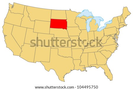 South Dakota Locate Map - stock vector