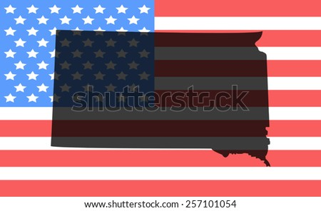 South Dakota map on a vintage american flag background - stock vector