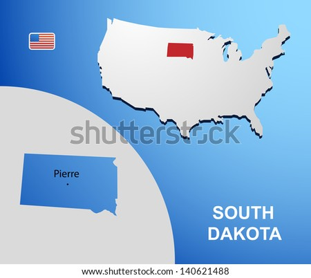 South Dakota on USA map with map of the state