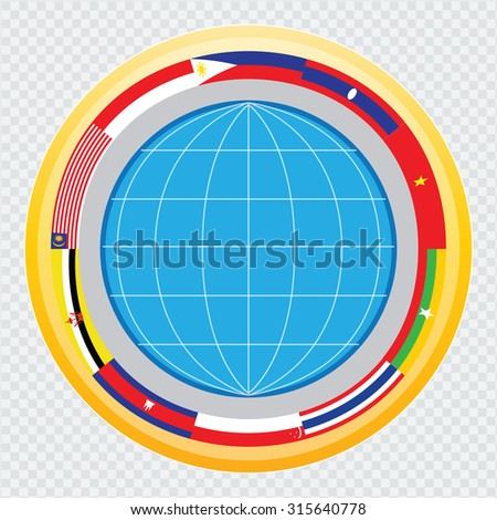 south east asia flag, or AEC or ASEAN  illustration. easy to modify
