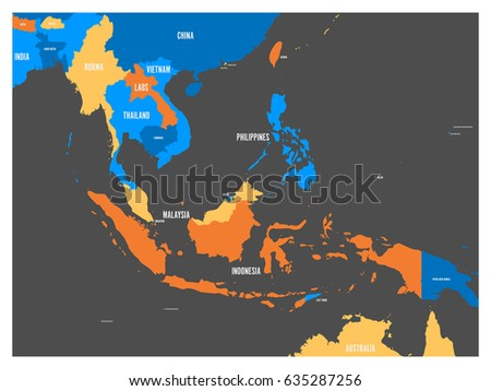 south east asia political map in four colors with white country names labels simple flat