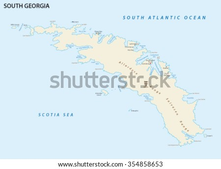 South Georgia Island Map Stock Vector Shutterstock - Map of south georgia