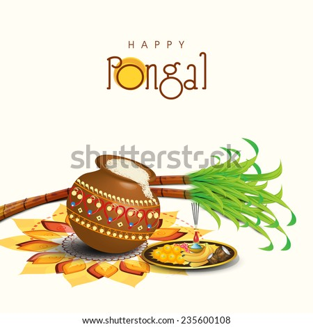 South Indian harvesting festival, Happy Pongal celebrations with rice in traditional mud pot, sugarcane and plate of religious offerings on colorful rangoli. - stock vector