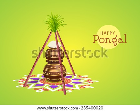 South Indian harvesting festival Happy Pongal celebrations with rice in traditional mud pots and sugarcane on colorful rangoli decorated green background. - stock vector
