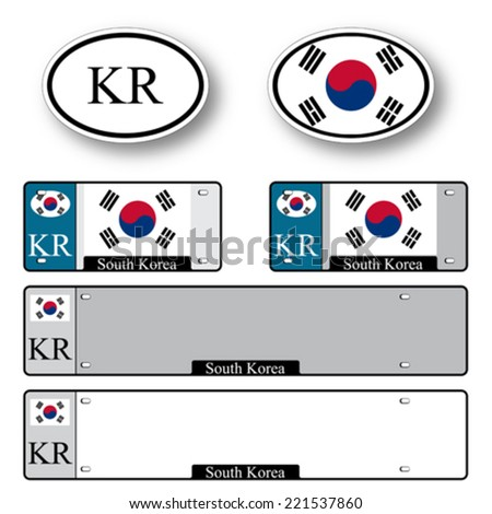 south korea auto set against white background, abstract vector art illustration, image contains transparency - stock vector