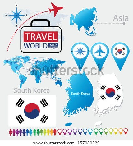South korea flag asia world map stock vector royalty free south korea flag asia world map travel vector illustration gumiabroncs Image collections