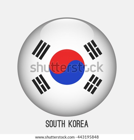 South Korea flag in circle shape. Transparent,glossy,glass button
