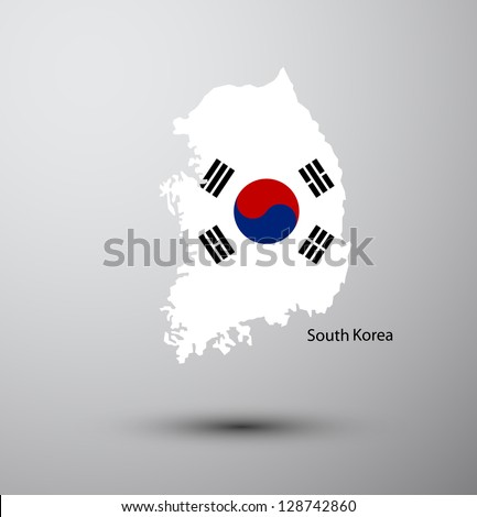 South Korea flag on map of country - stock vector