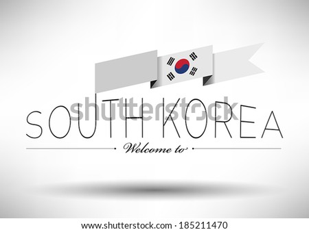 South Korea Flag with Typography Design - stock vector