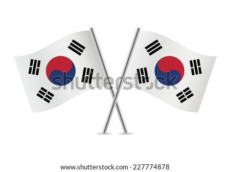 South Korea flags. Vector illustration. - stock vector