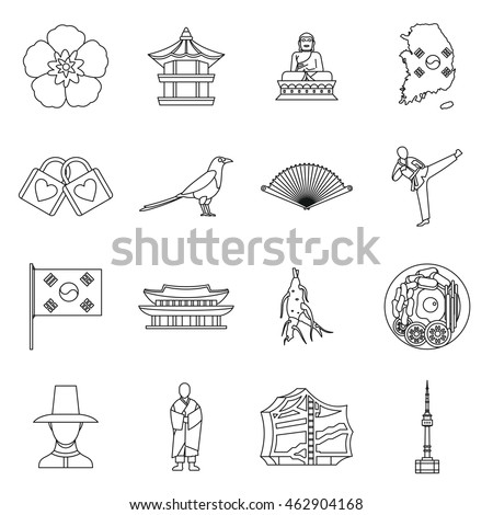 South Korea icons set in outline style. South Korea symbols set collection vector illustration