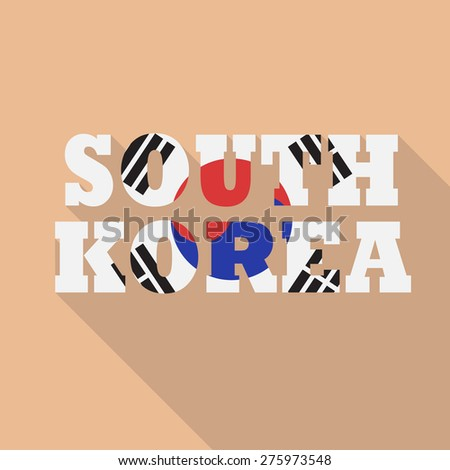 South Korea inscription flat style with long shadow and filled in national flag style. Vector EPS10 - stock vector