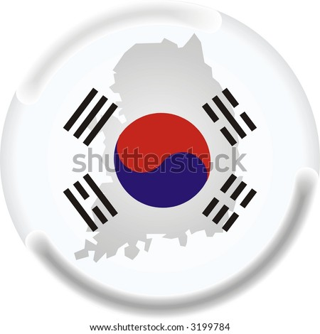 south korea map and flag