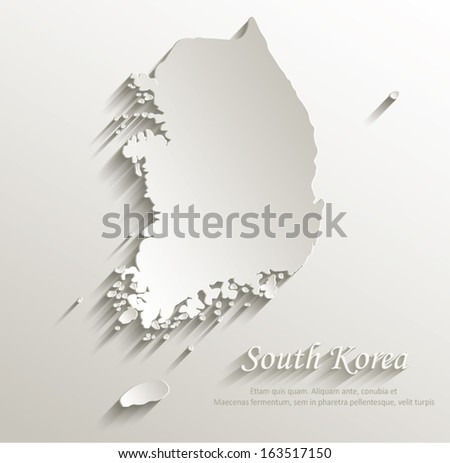 South Korea map card paper 3D natural vector - stock vector