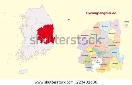 south korea north gyeongsang province map - stock vector